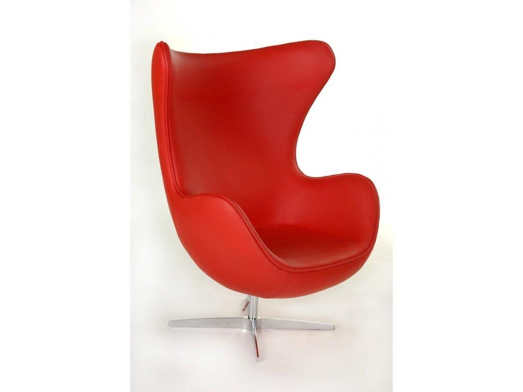 Kreslo EGG červená koža 65 Premium