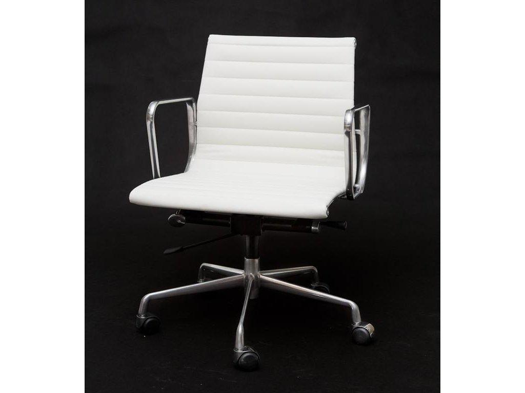 Kreslo kancelárske CH1171T biela koža, chróm