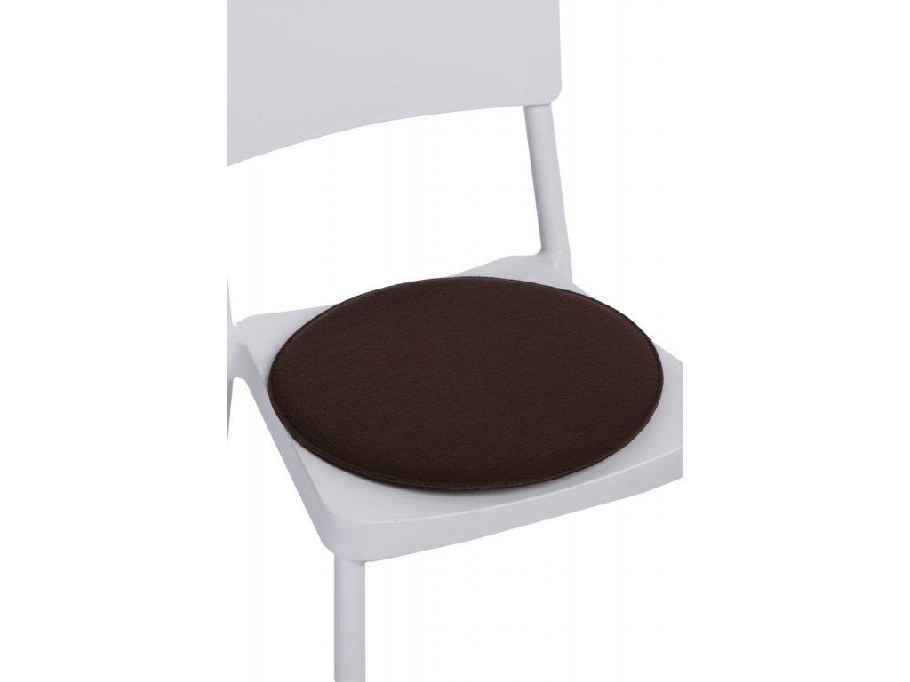 Vankúš na stoličky okrúhly hnedý