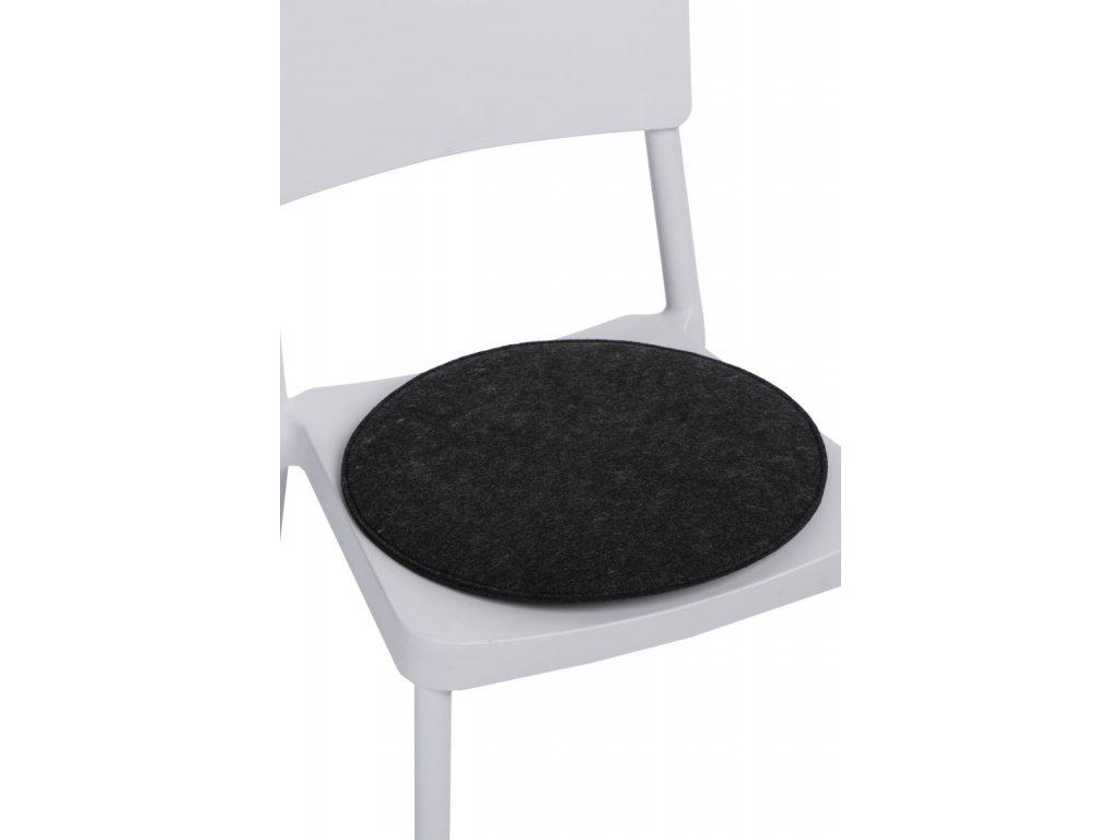 Vankúš na stoličky guľatý šedý tmavý