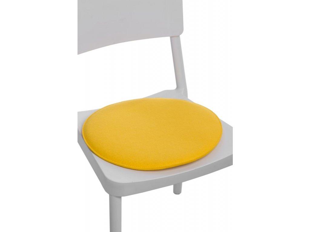 Vankúš na stoličky okrúhly žltý