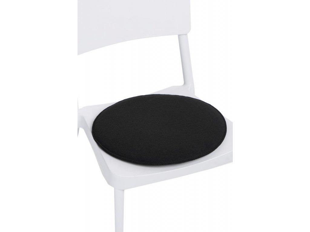 Vankúš na stoličky okrúhly čierny