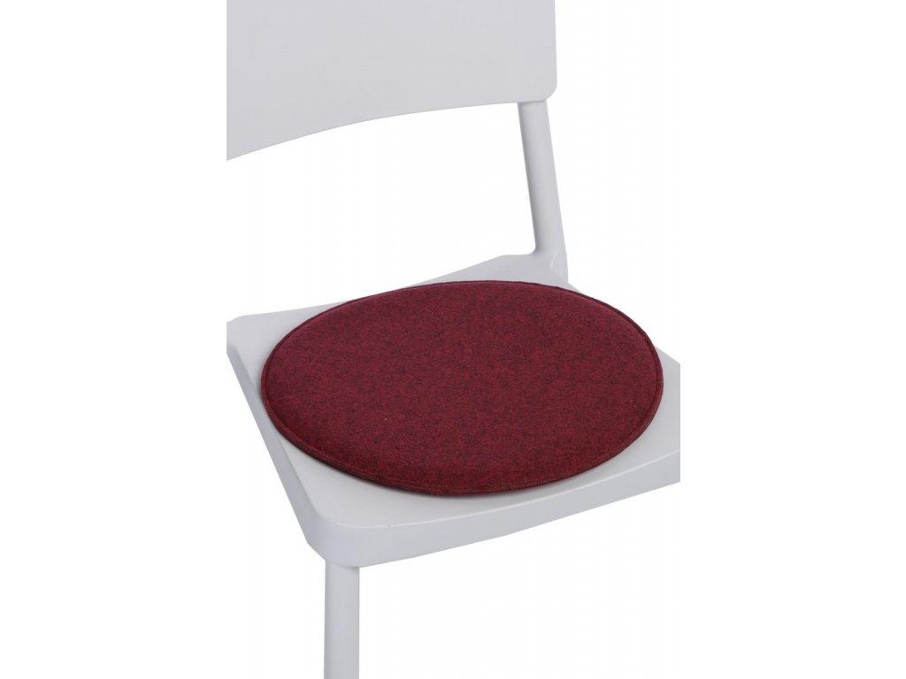 Vankúš na stoličky guľatý červený zmes