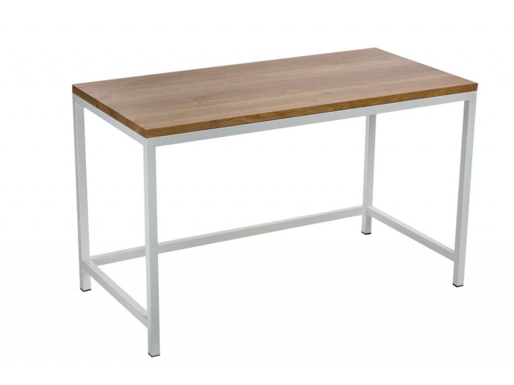 Písací stôl Hooper 120x60 cm bielej profil 30m doska lakovaný dub prírodný