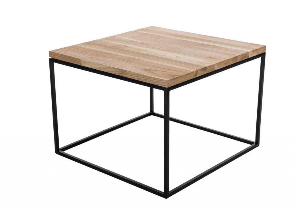 Stolík Cube 60x60 biely profil 30 mm doska lakovaná, čerešňa prírodné