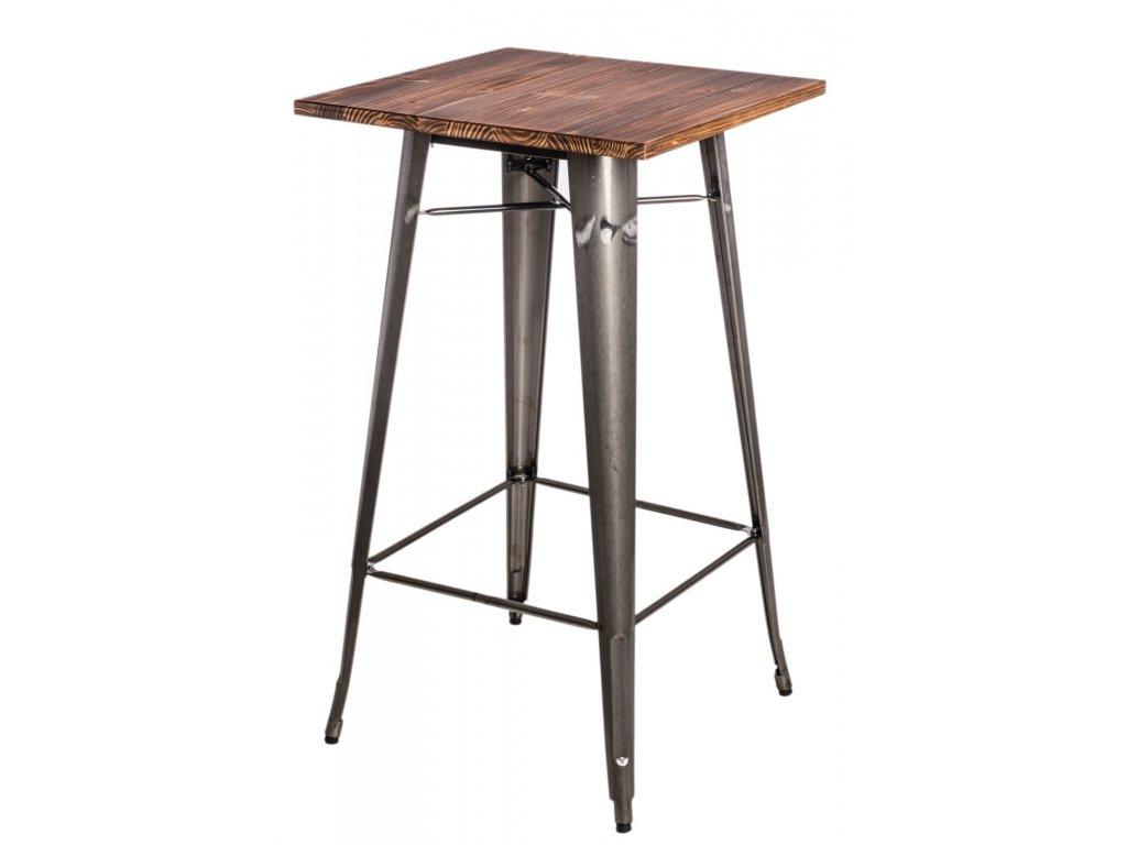 Stôl barový Paris Wood metalický sosna