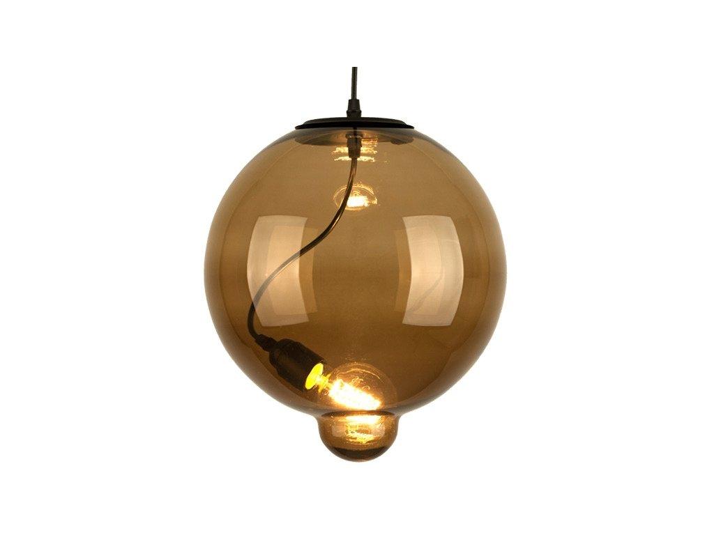 Luster - Závesná lampa Modern Sklo Buble hnedá