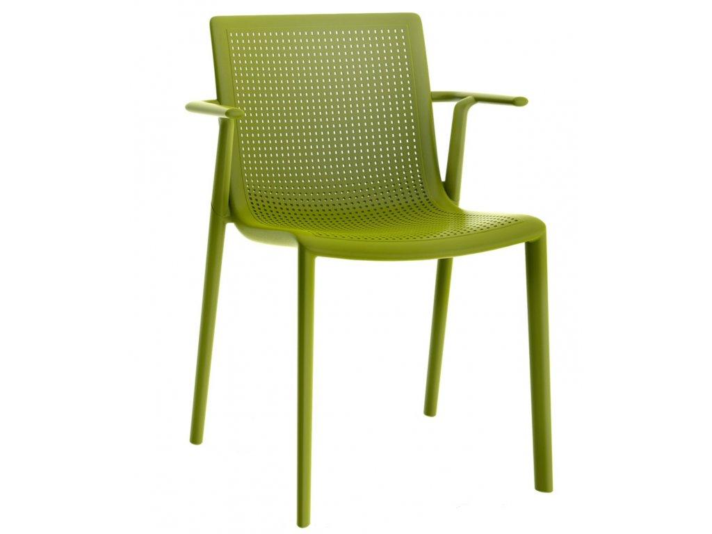 Stolička Beek s opierkami zelená