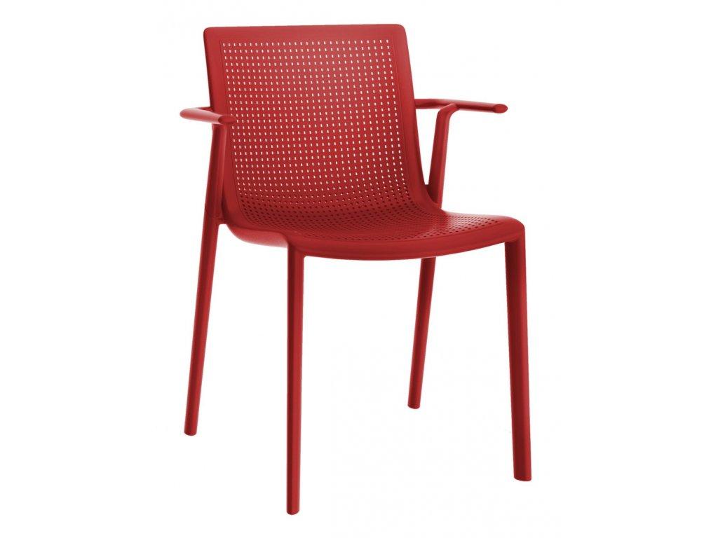 Stolička Beek s opierkami červená