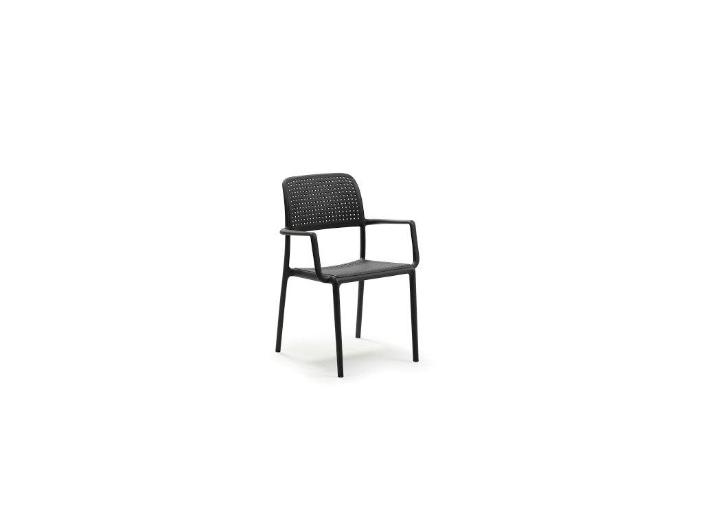 Stolička Bora s opierkami čierna