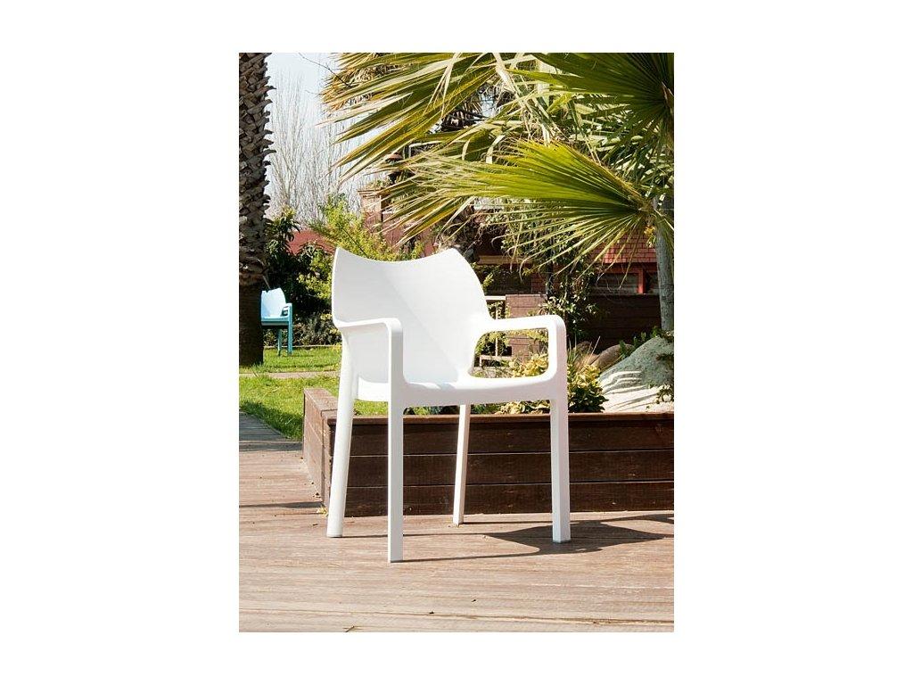 Stoličky Dionisio Biela Arm chair