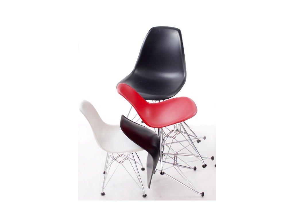 Stoličky JUNIORP016 čierna, chróm. nohy