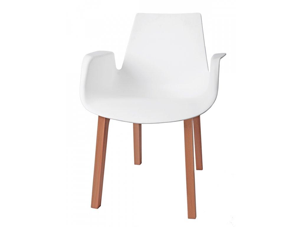 Stoličky Mokka biela, drevené nohy