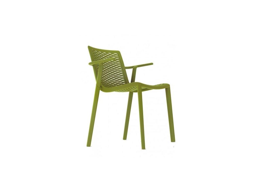 Stolička NETKAT s opierkami zelená