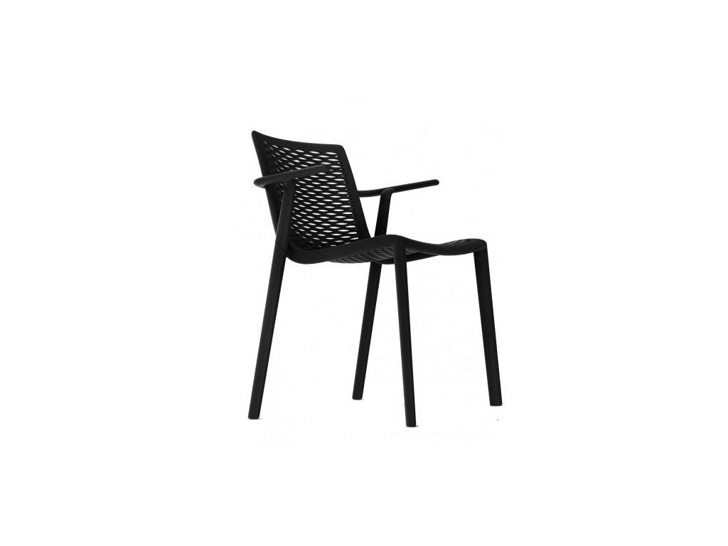 Stolička NETKAT s opierkami čierna