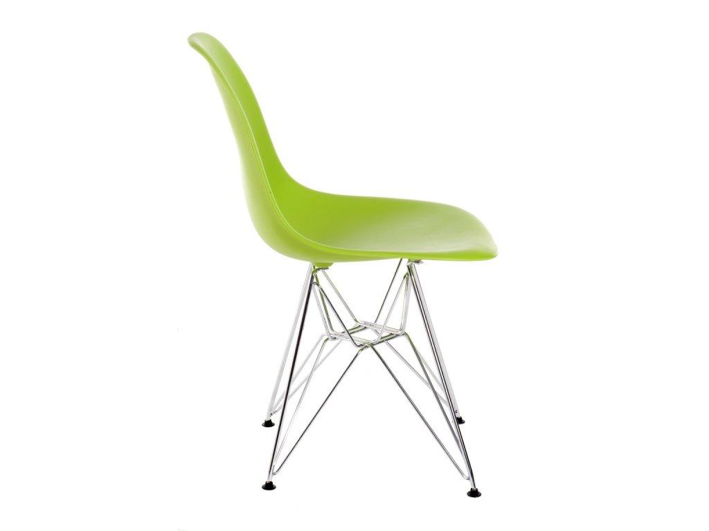 Stoličky P016 PP zelená, chrómované nohy