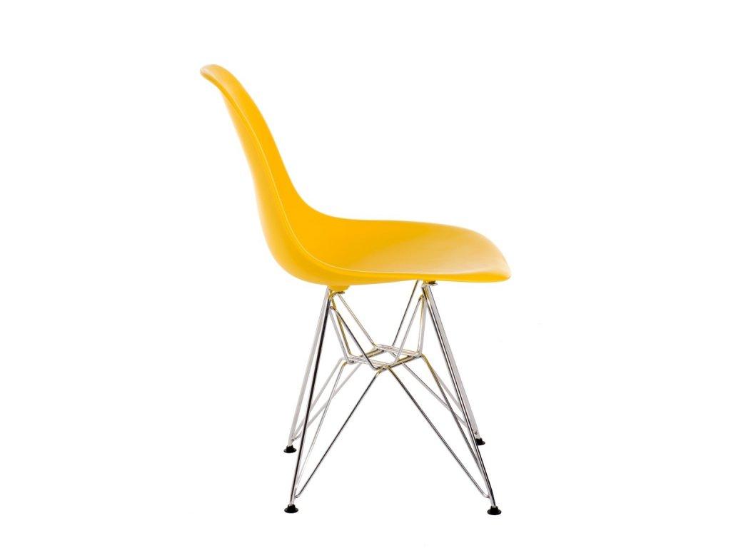 Stoličky P016 PP žltá, chrómované nohy