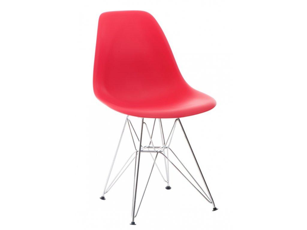 Stoličky P016 PP červená, chrómované nohy