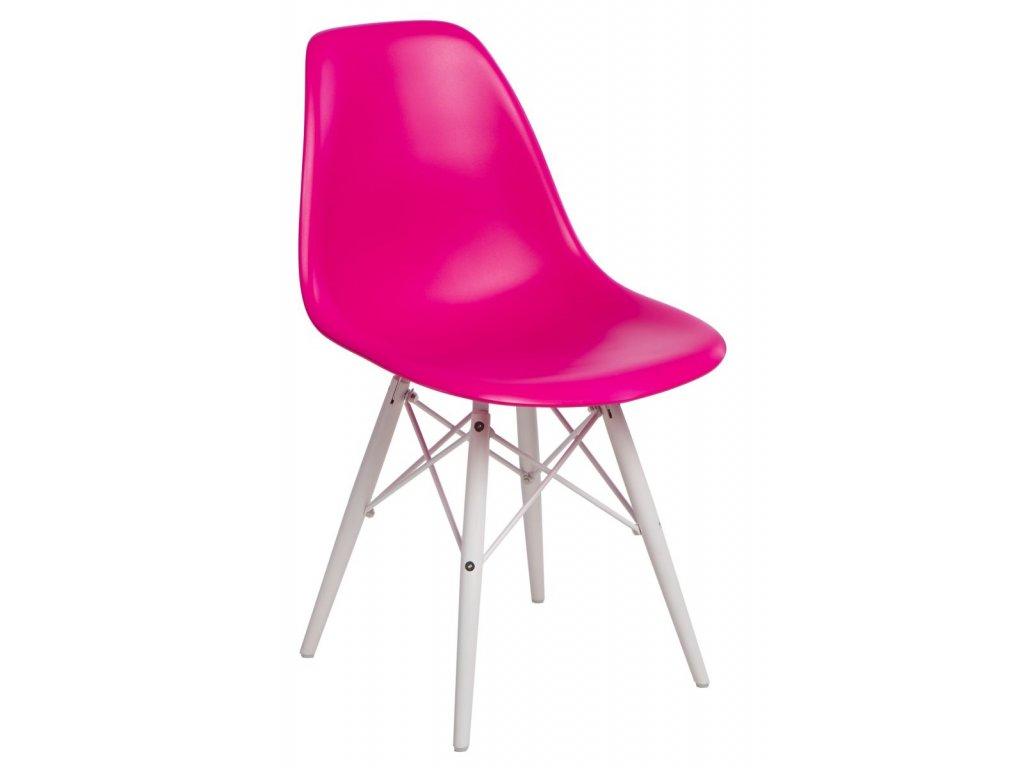 Stoličky P016V PP tmavo ružová / biela