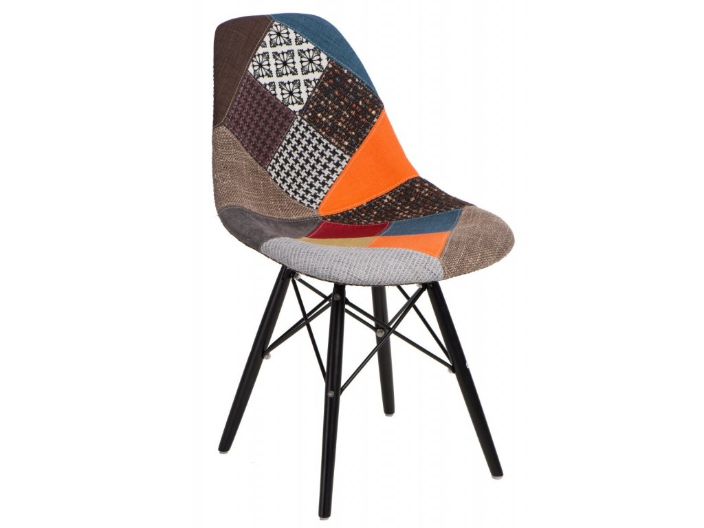 Stoličky P016V Patchwork farebná / čierna