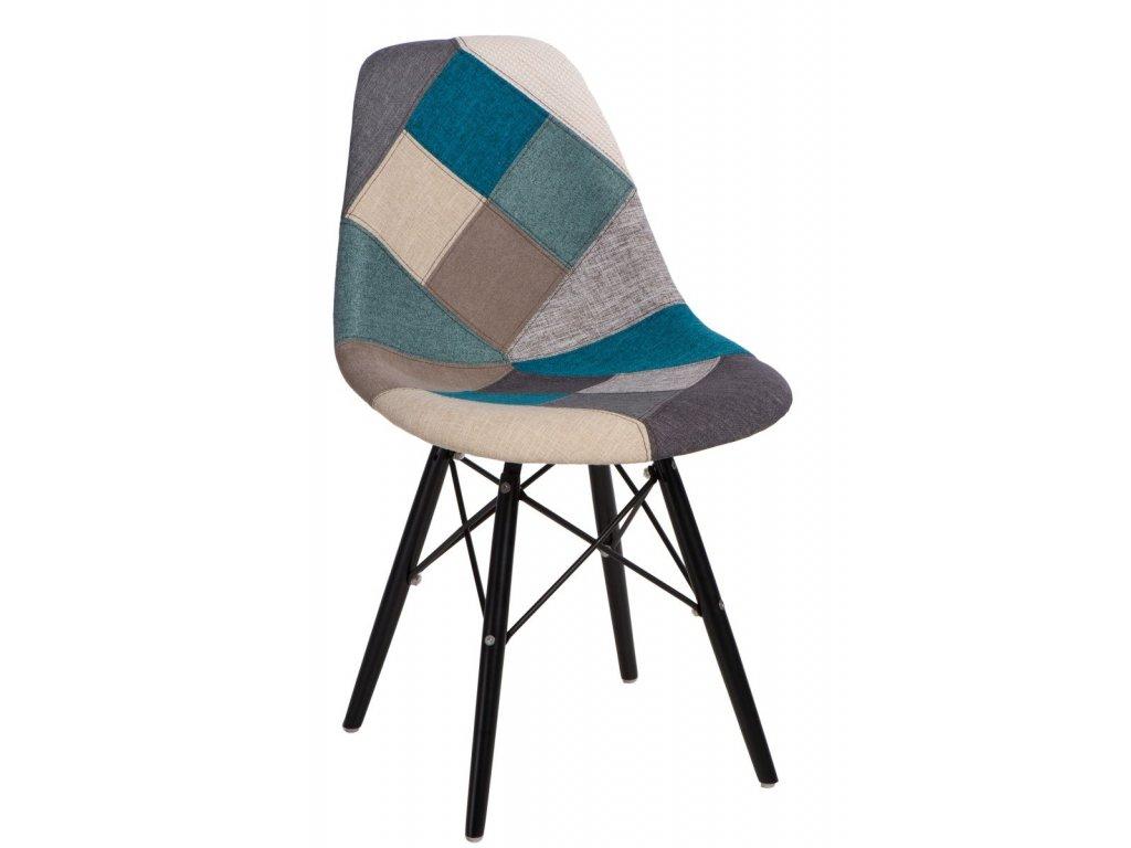 Stoličky P016V Patchwork modrá-šedá / čierna
