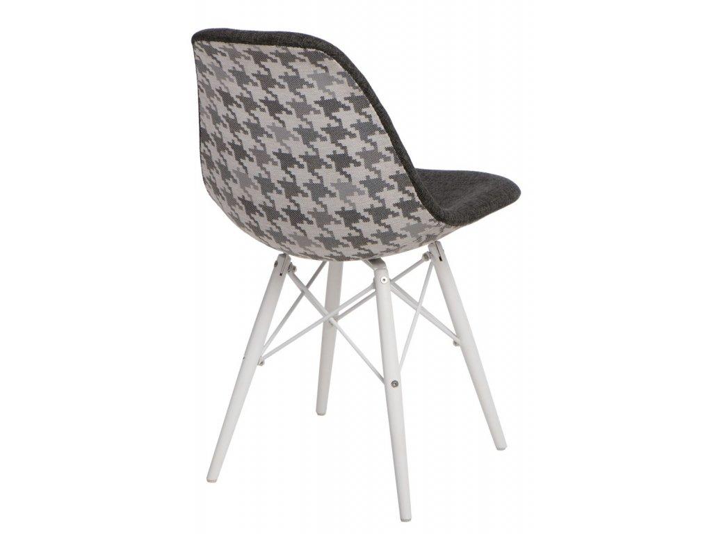Stoličky P016V Pattern sivá-pepito / biela
