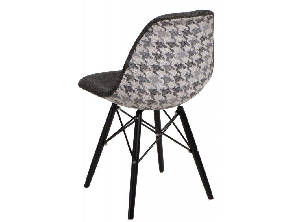Stoličky P016V Pattern sivá-pepito / čierna