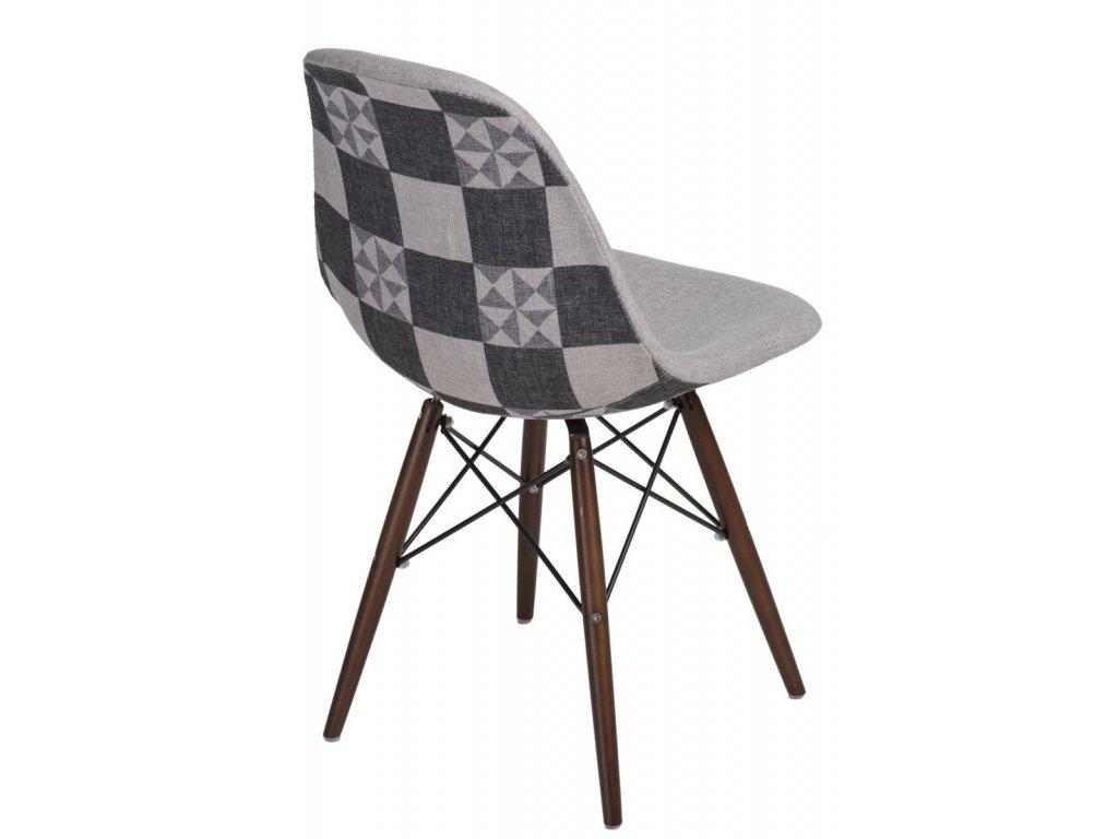 Stoličky P016V Vzor šedá-patch / tmavá