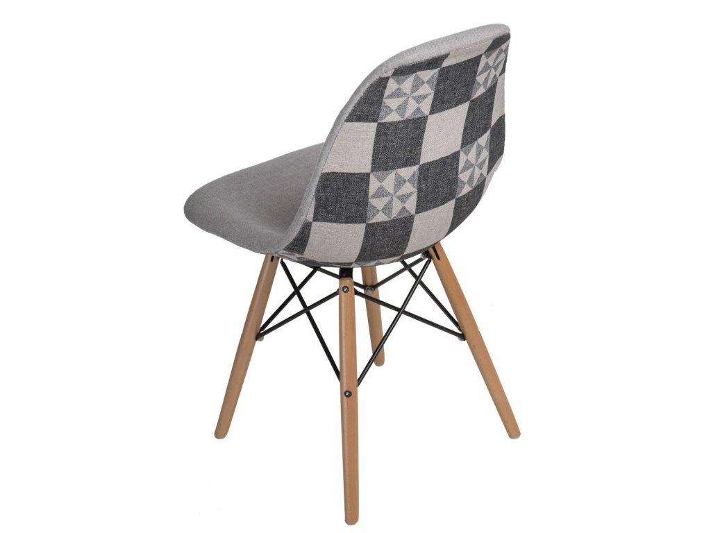 Stoličky P016V Vzor sivá / patchwork