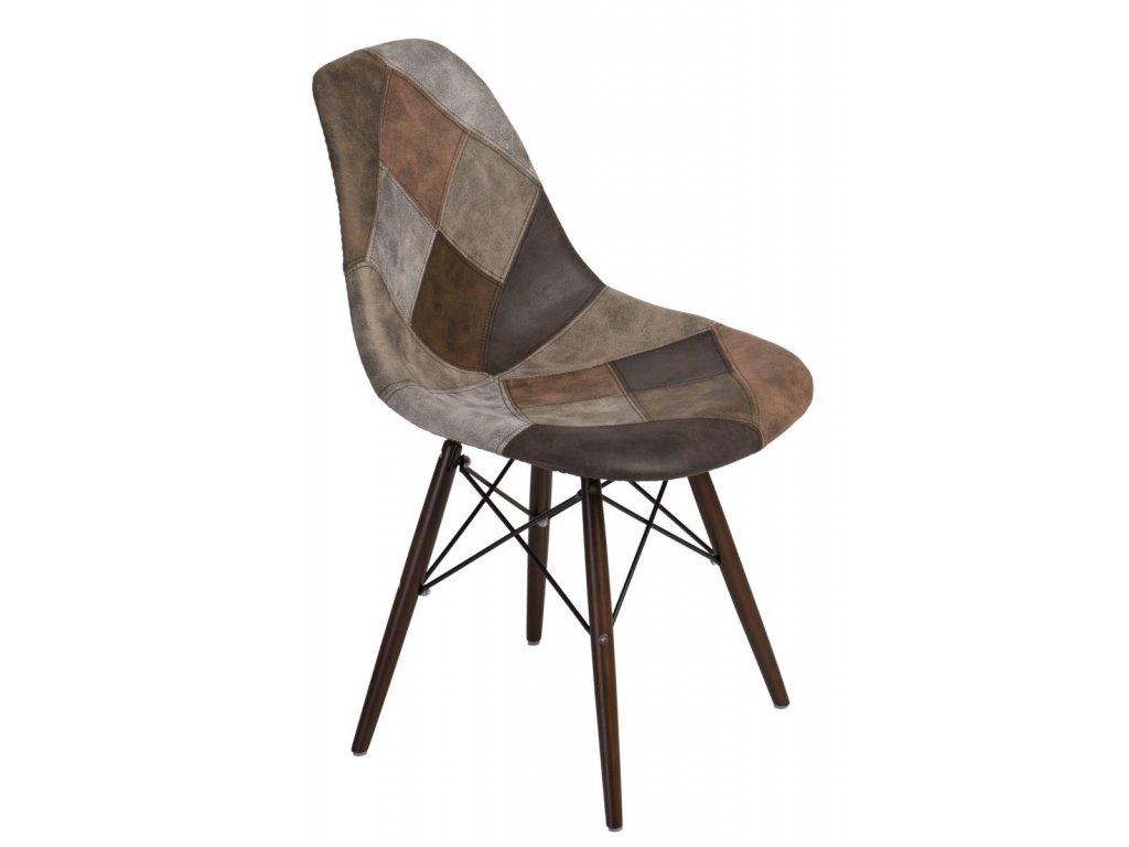 Stoličky P016V patchwork bez - hnedá / tmavá