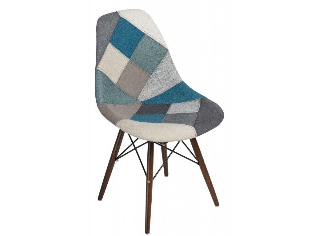 Stoličky P016V patchwork modrá-šedá / tmavá