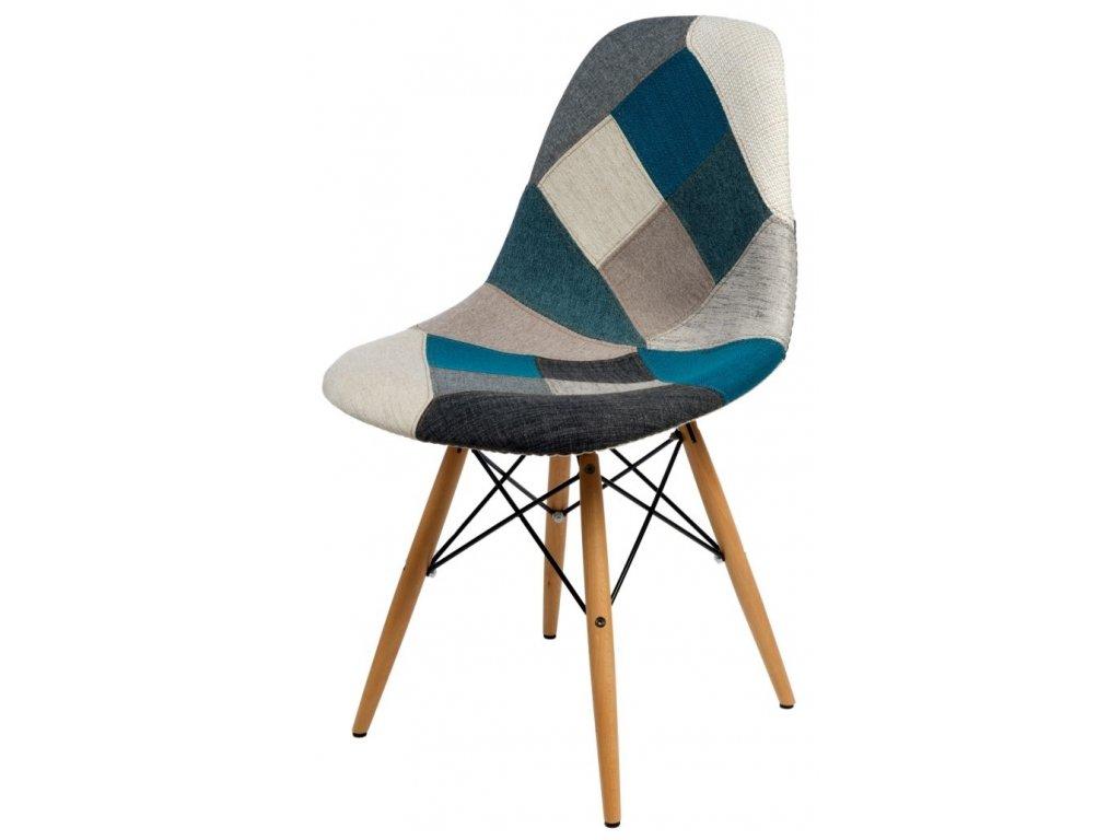 Stoličky P016V polstrovanie modrá sivá