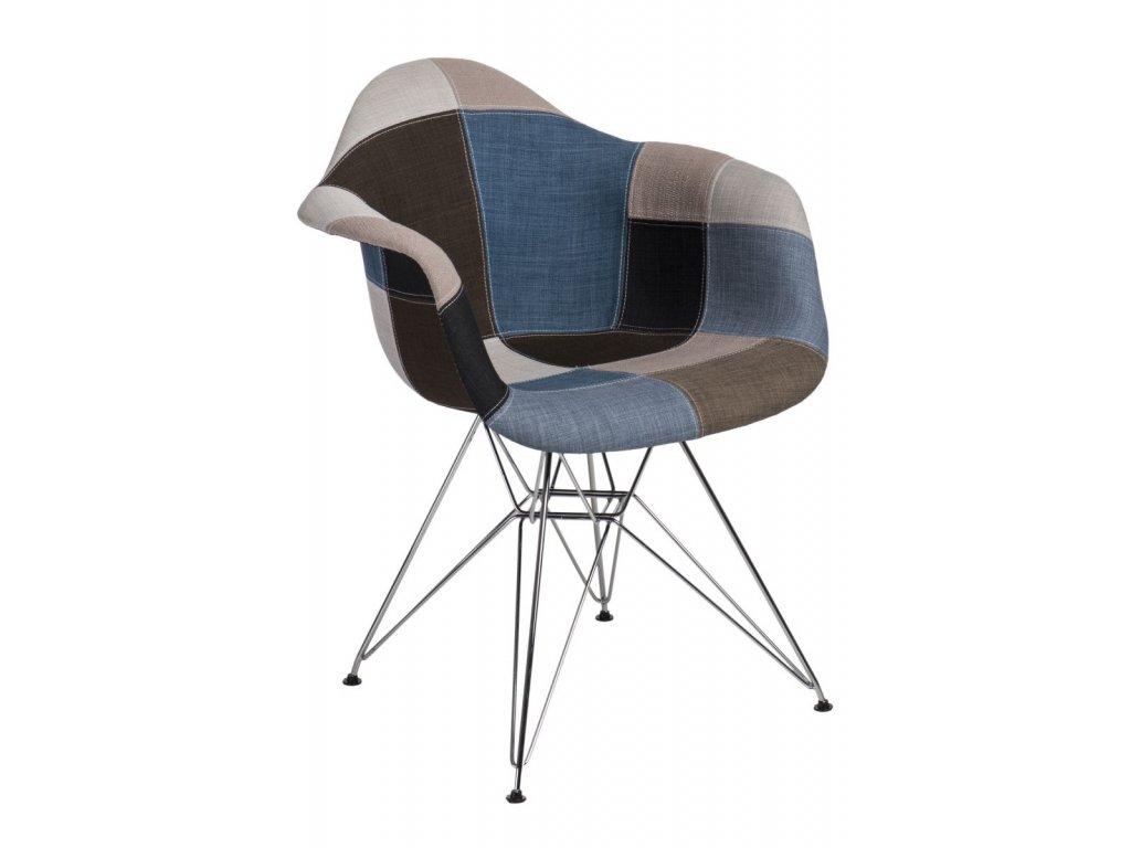 Stoličky P018 DAR patchwork modrá - sivá