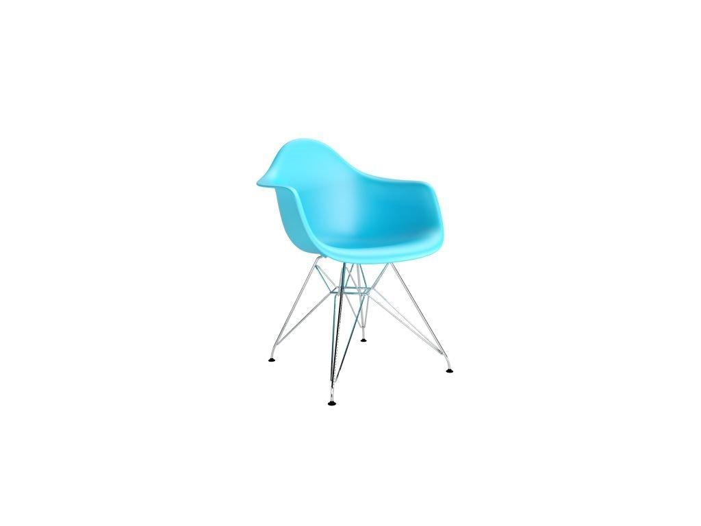 Stoličky P018 PP oceán modrá, chróm nohy