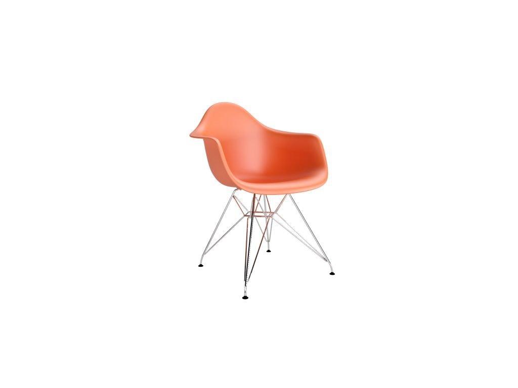Stoličky P018 PP oranžová, chróm nohy
