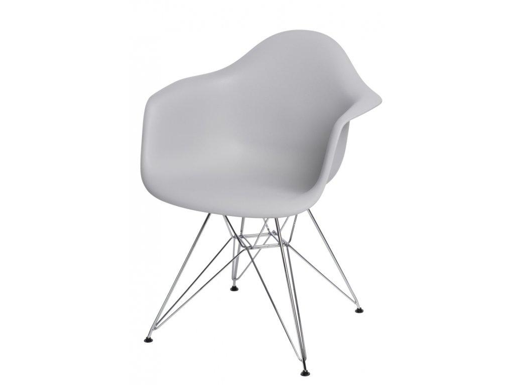 Stoličky P018 PP svetlá sivá, chróm nohy HF