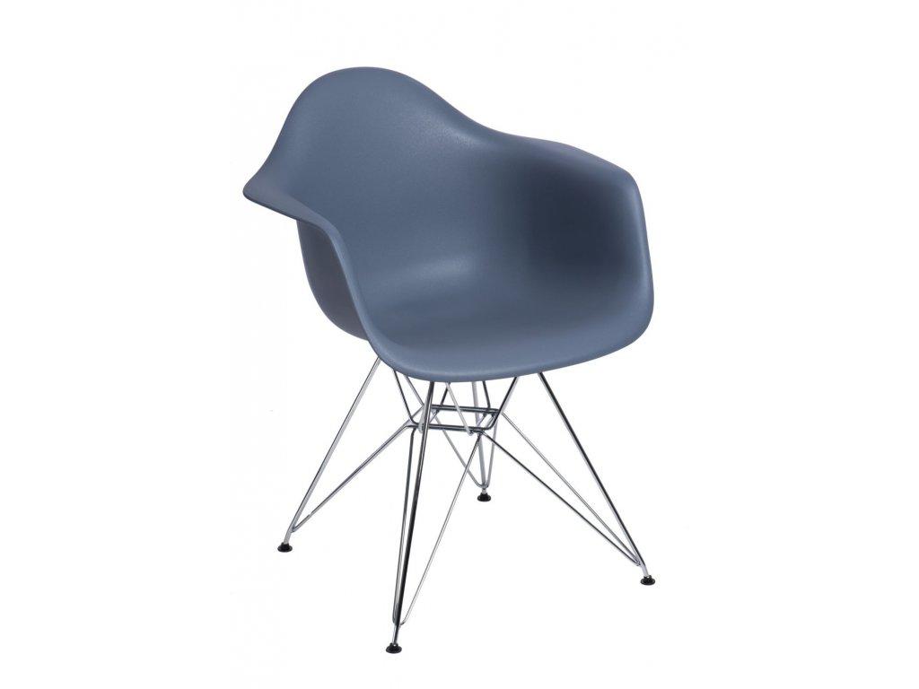 Stoličky P018 PP tmavá sivá, chróm nohy HF