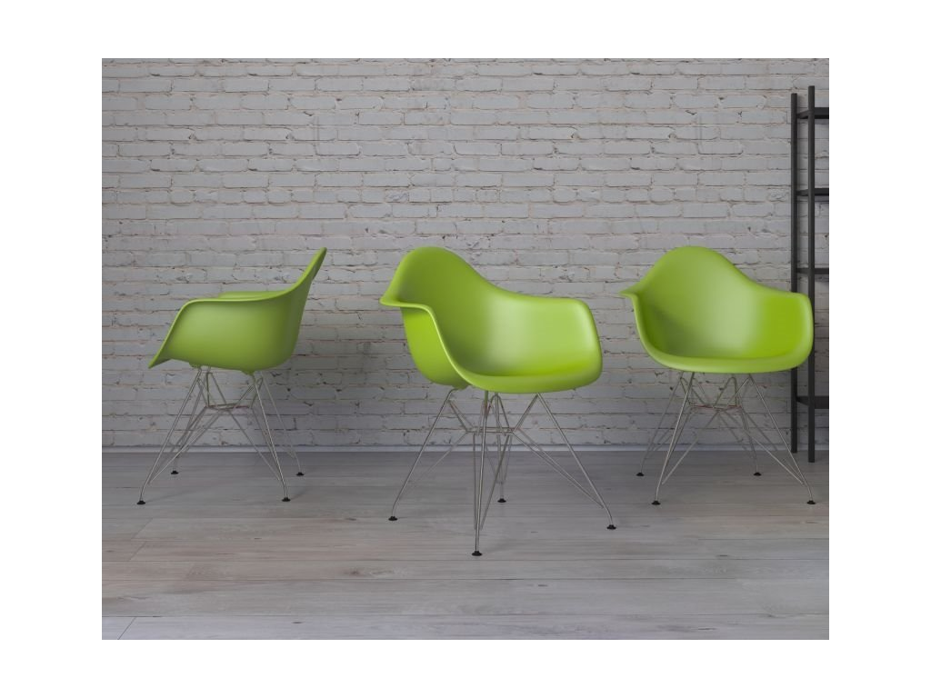 Stoličky P018 PP zelená, chrómované nohy