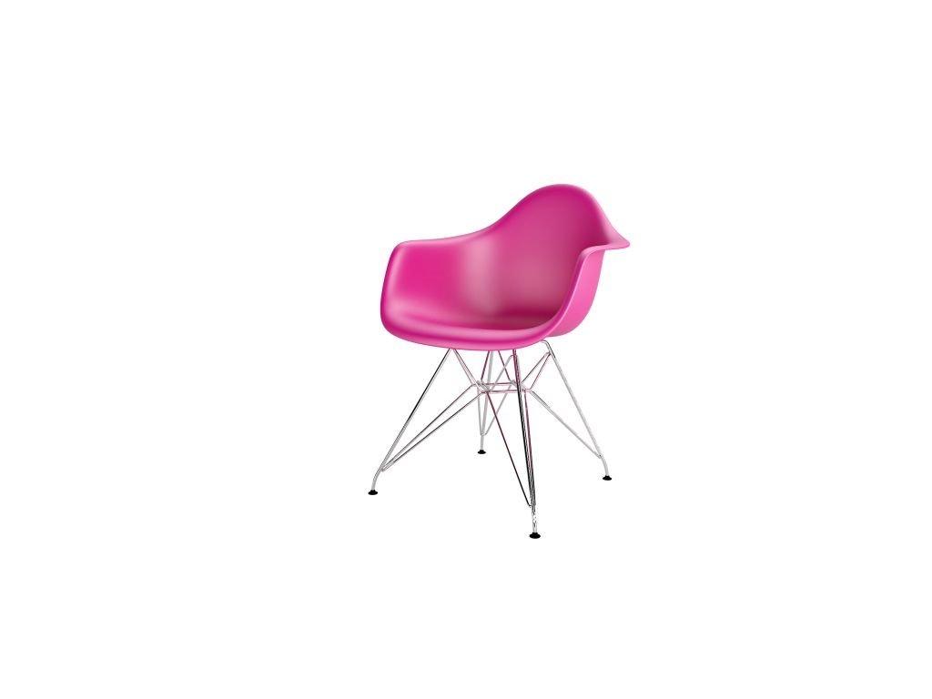 Stoličky P018PP ružová chrómované nohy HF