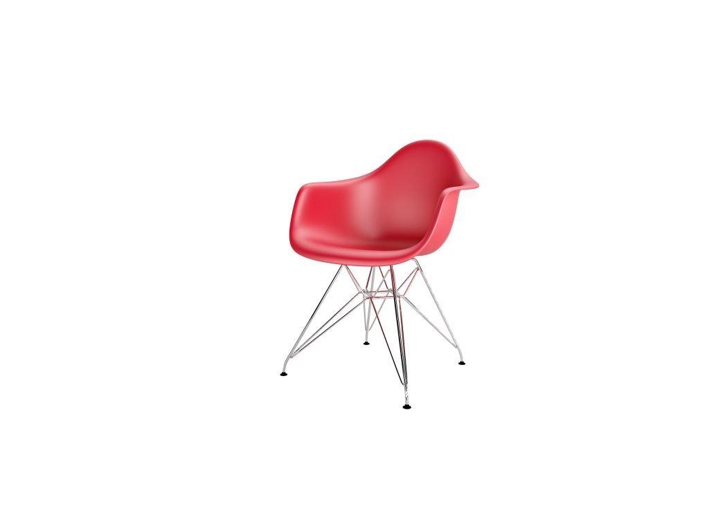 Stolička P018PP červená chróm nohy HF