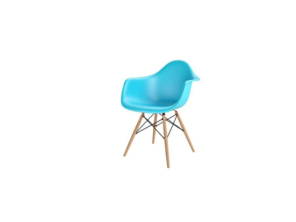 Stoličky P018V PP oceán modrá, drevené nohy HF
