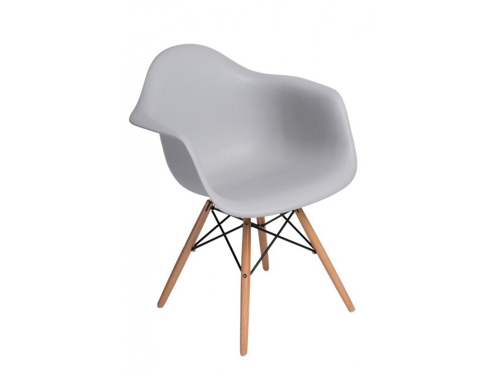 Stoličky P018V PP svetlá šedá, drevené nohy