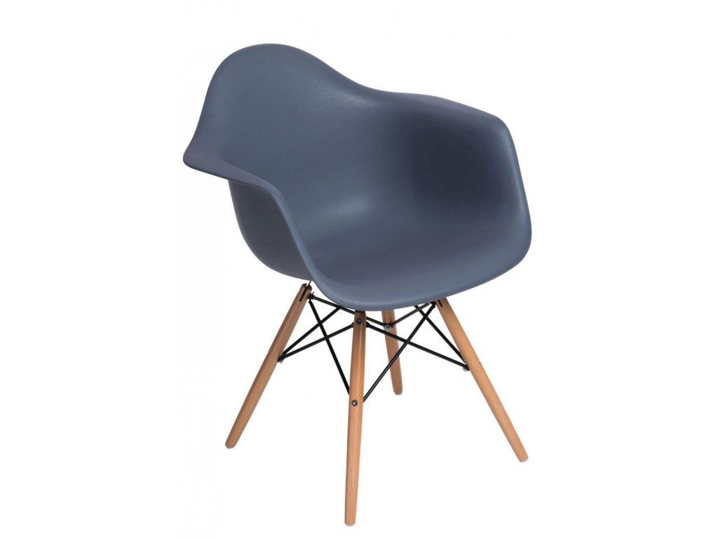 Stoličky P018V PP tmavá sivá, drevené nohy
