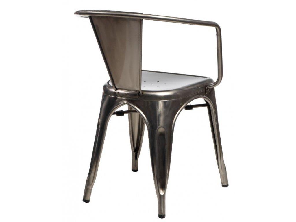 Stoličky Paris Arms vo farbe kovu inšpirovaná Tolix