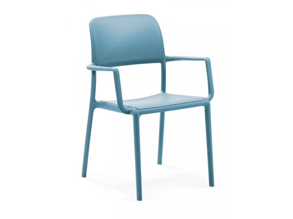 Stolička Riva s opierkami modrá