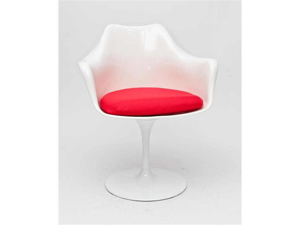 Stolička Tulare biela / červený vankúš