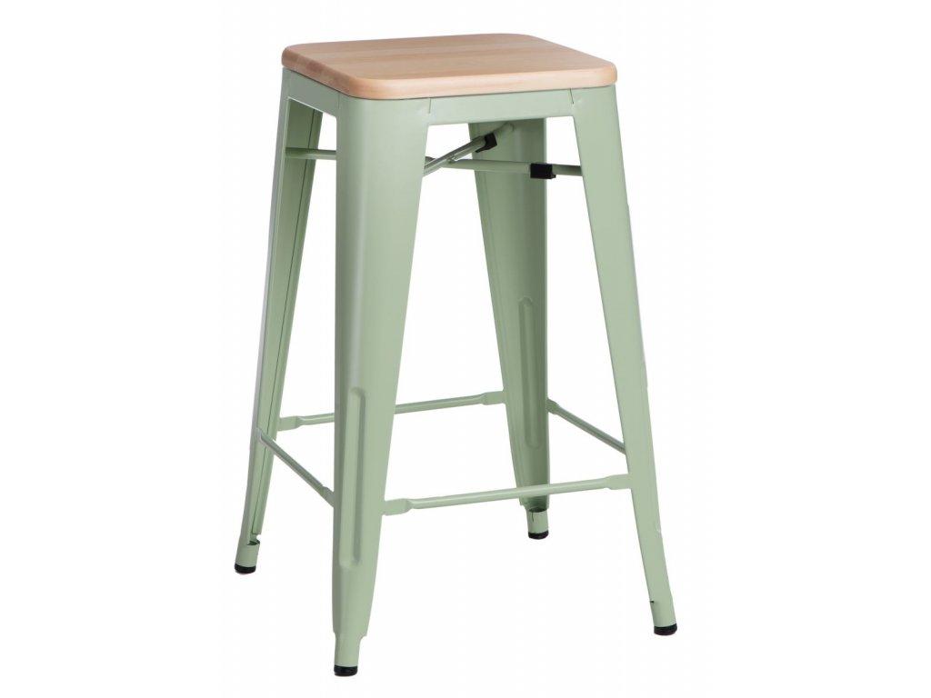 Barová stolička Paris Wood 75cm zelená sosna prírodné
