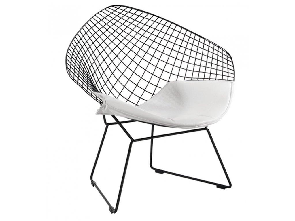 Kreslo Voliéra Soft - čierne / biely vankúš