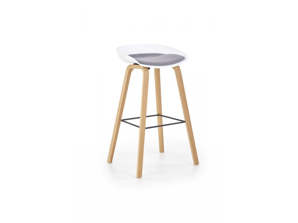 H86 barová stolička bielo / šedá