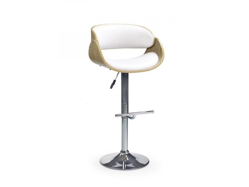 H43 barová stolička svetlý dub / biela